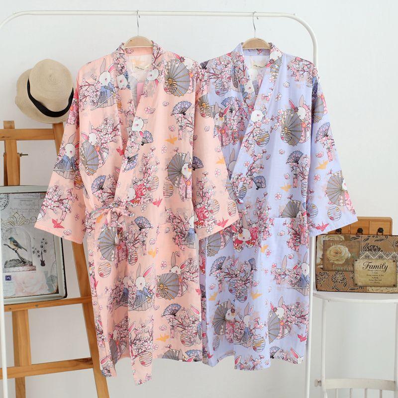 Women Cool Traditional Japanese Kimono Women Cotton Robe Yukata Women Bathrobe Kimono Sleepwear Home Clothing Nightgown 121403