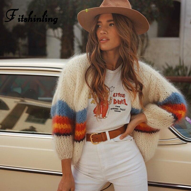 Fitshinling Rainbow Stripe Sweater Cardigans Women's Knitted Jacket Lantern Sleeve Autumn 2019 Female Cardigans New Arrival Sale