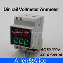 Din рейку Двойной СВЕТОДИОДНЫЙ дисплей Напряжения и тока метр din-рейку вольтметр амперметр ПЕРЕМЕННОГО ТОКА диапазон 80-300 В 0.1-99.9A