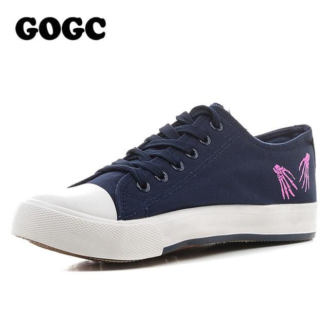 GOGC Lienzo Zapatos de Las Mujeres Causales Del Deporte Blanco Negro para Mujer Zapatos para Caminar Calzado de Plataforma Plana Femenina Del Verano 2017 de la Marca