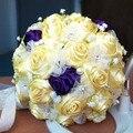 2017 Люкс Для Невесты Свадебный Букет Дешевые Новый Роскошный Кристалл Желтый Ручной Искусственный Цветок Розы Свадебные Букеты