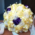 2017 Bridal Bridesmaid Wedding Bouquet Cheap New Luxury Crystal Yellow Handmade Artificial Rose Flower Bridal Bouquets