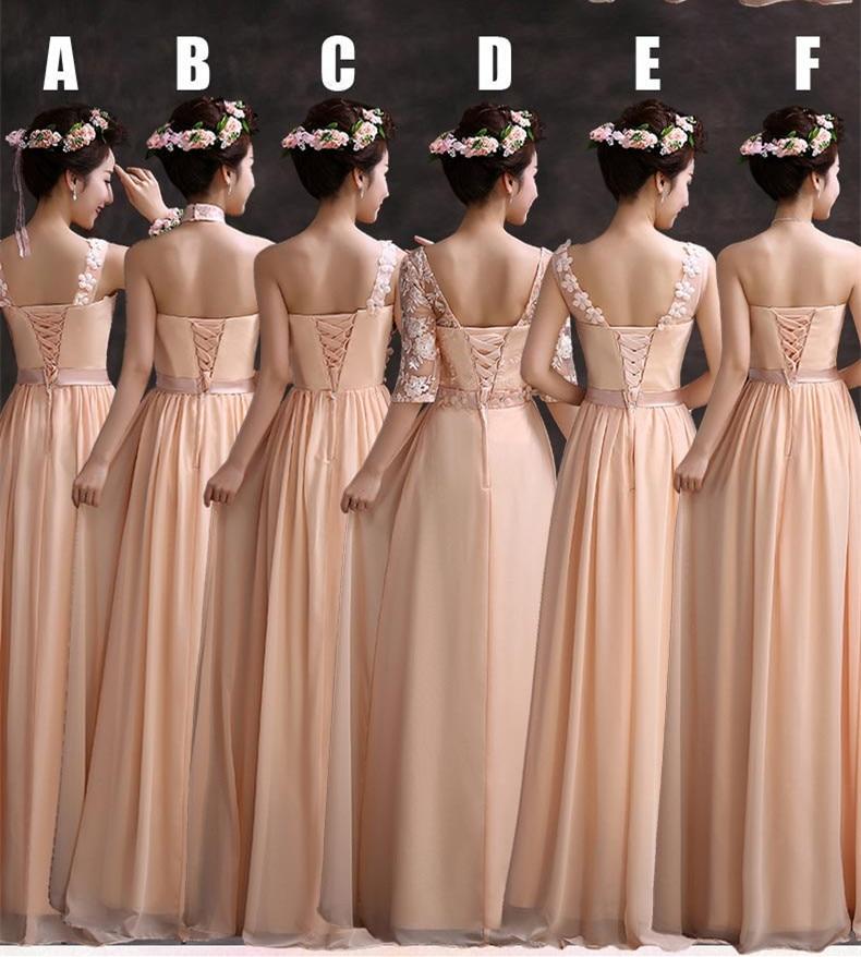 Elegant Scoop Neck Lace Half Sleeves Long Chiffon Peach Bridesmaid ...