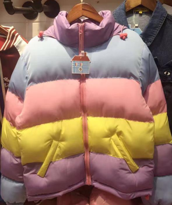 Japanese Harajuku loose cotton down super warm bread jacket Ma Caron fight color jacket