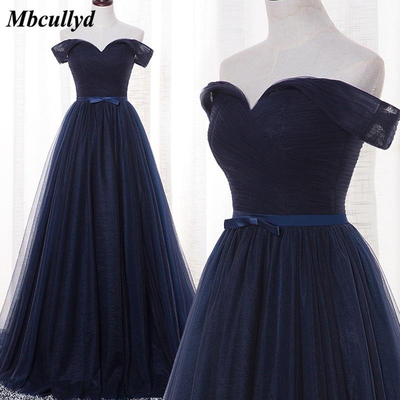 Mbcullyd Navy Blue Bridesmaid Dresses Long 2018 New Designer Tulle Beach Garden Wedding Party Formal Junior Women Ladies Dress