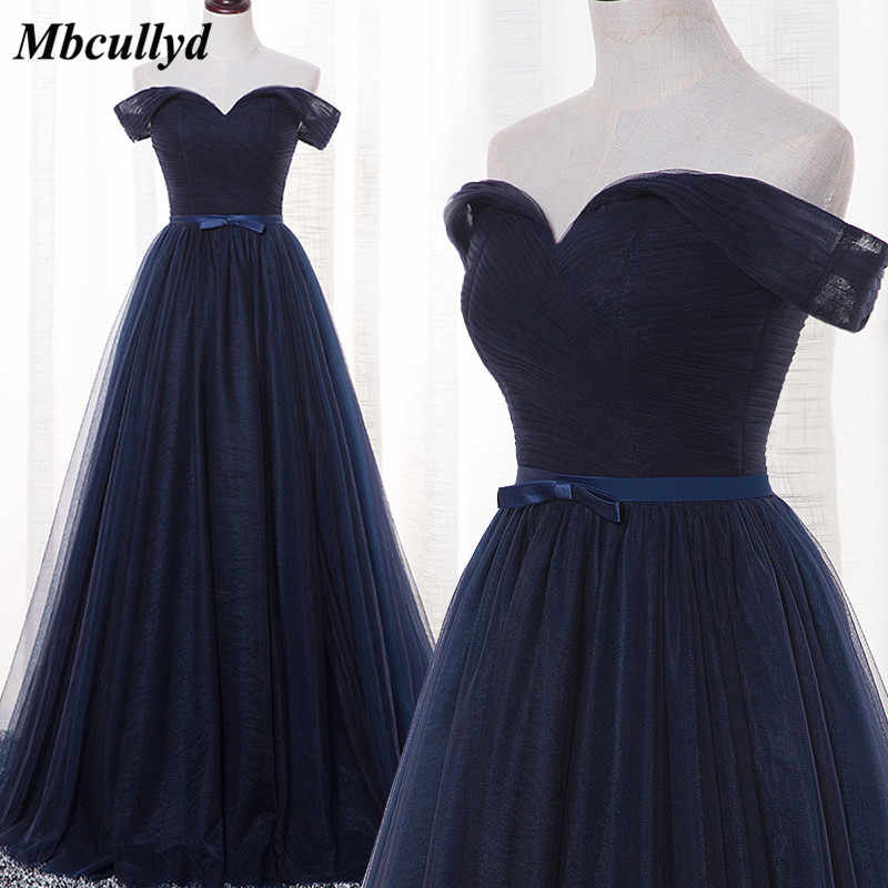 Mbcullyd Navy Blue Bridesmaid Dresses Long 2018 New Designer Tulle Beach  Garden Wedding Party Formal Junior dcb2f7d76f