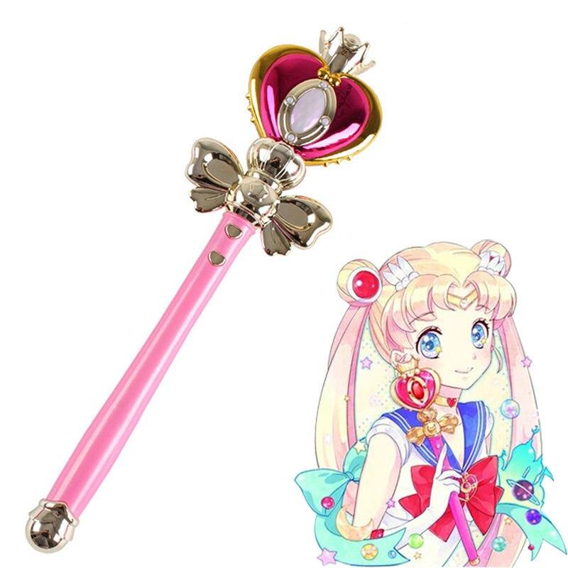 [Funny] Light Sailor Moon Wand Magic Henshin Rod Musical Glow Heart Stick Sailor Moon Crystal Anime Figure Cosplay Toy Girl Gift