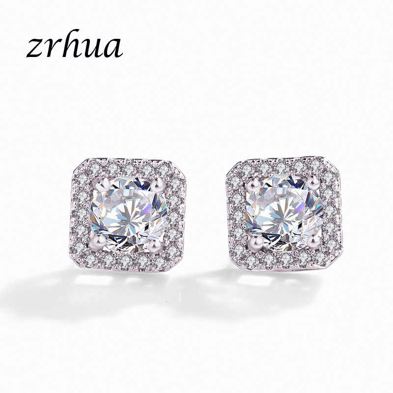ZRHUA 925 Sterling Silver Stud Earrings Jewelry Fashion Tiny CZ Pave Crystal Square Brincos Gift For Women Girls Kids Lady