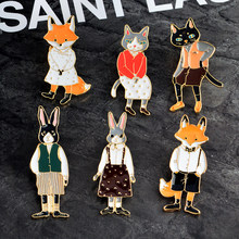 Animale del fumetto del Gatto Del Gattino Coniglio Bunny Volpe Pin Spilla Smalto Pulsante Pin Icon Denim giacca Collare Spilla Distintivo Gioielli regalo(China)