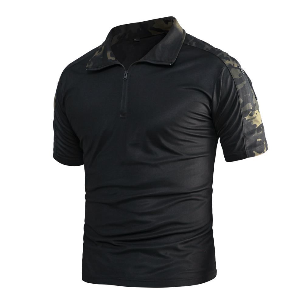 2019 NEW MCBK CoolMax Summer Short Sleeve T-shirt/ Tactical Frog Camouflage Stand Neck Shirt Multicam Black