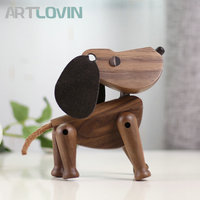 New Arrivals Nordic Wooden Dog Figures Walnut Wood Lovely Puppy Toys Home Decoration Doggy Tabletop Ornament Kids Toys and Gifts