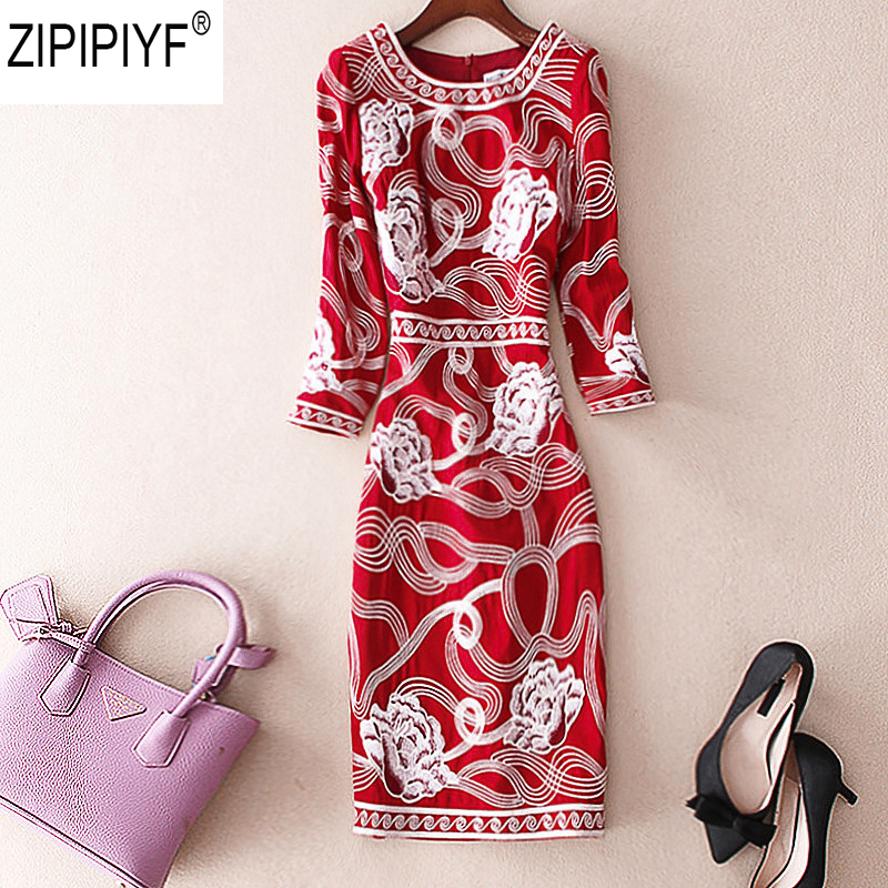 2018 Autumn Fashion Dress Casual O-Neck Long sleeves pencil Dresses Vintage Floral Print Women Elegant Knee-Length Dress C1211 new arrival 2018 autumn knitted dresses fashion women long sleeve v neck knee length dress casual solid female dress clothes