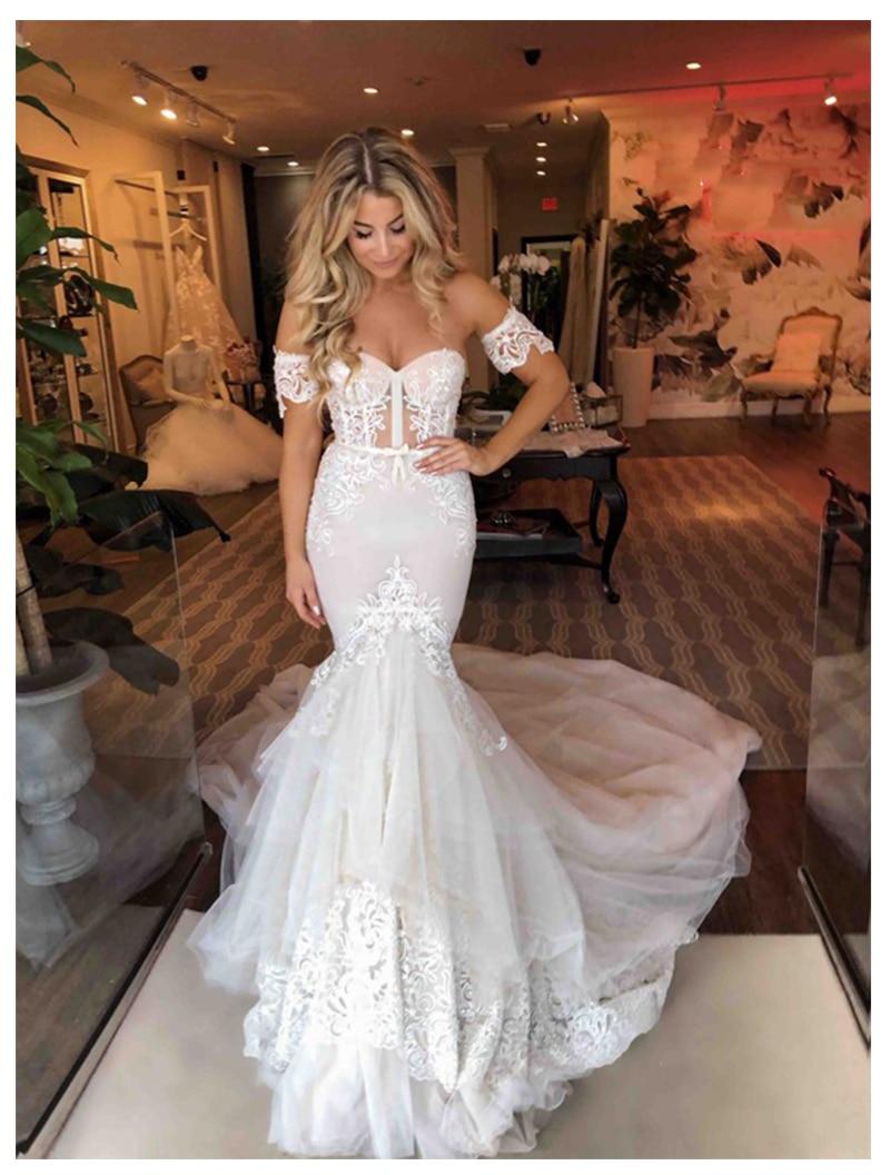 Sexy Mermaid Wedding Dress 2019 Beach Bride Dress Off The Shoulder Informal Modest Wedding Dresses Hot Sale Backless V-neck