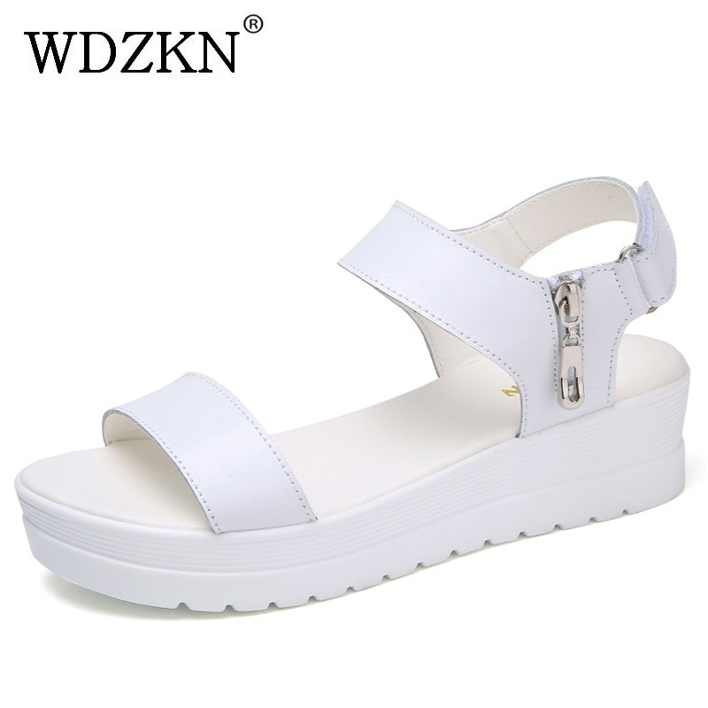 363145e3d2 WDZKN 2018 Women Wedge Sandals Summer Platform Shoes Open Toe Zipper Hook  Loop White Blue Flat Platform Sandals Woman Sandalias -in Middle Heels from  Shoes ...