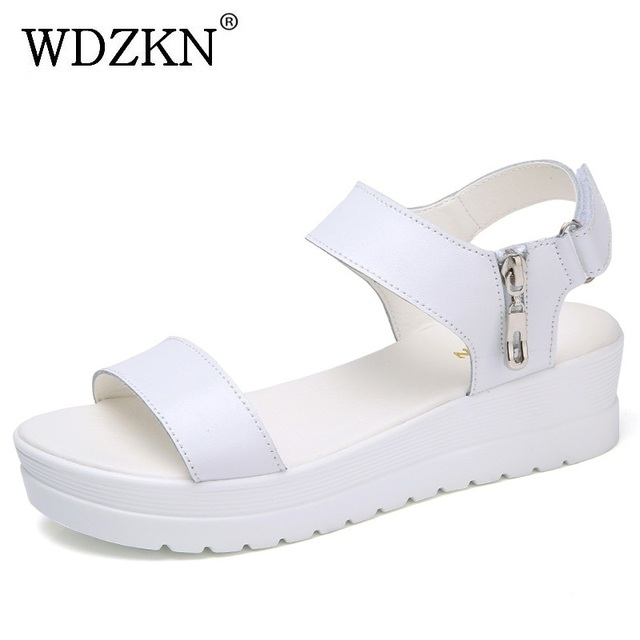 8c50d84e1f WDZKN 2018 Women Wedge Sandals Summer Platform Shoes Open Toe Zipper Hook  Loop White Blue Flat