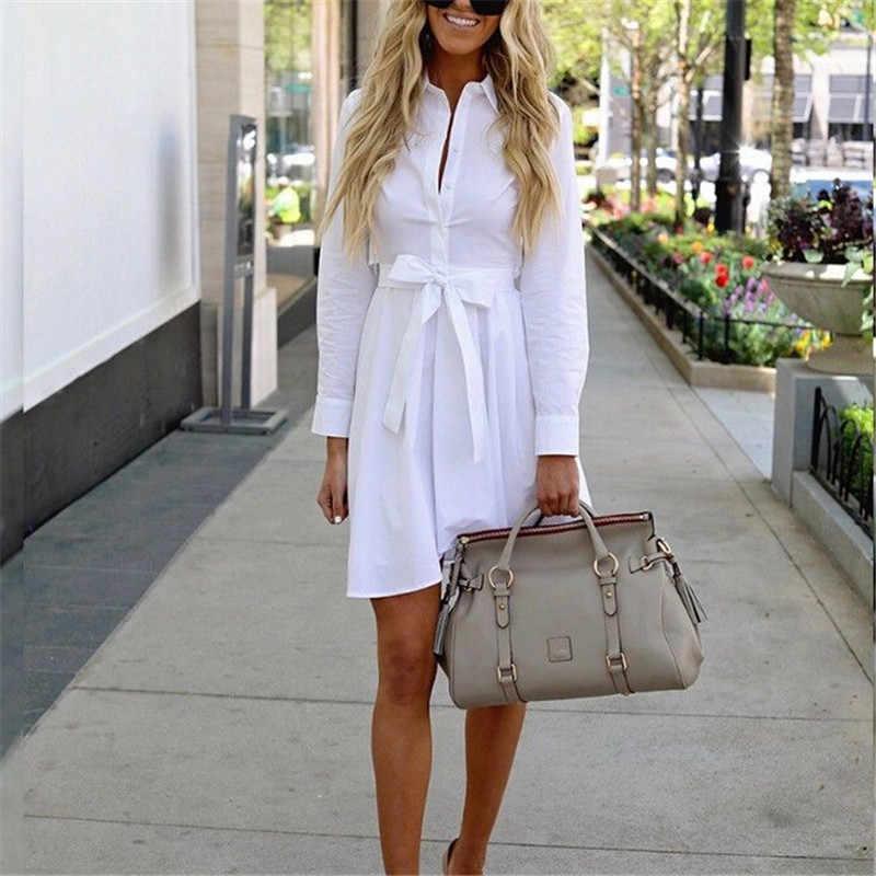 e4239c38662 2018 модные женские туфли платье-рубашка с длинными рукавами Осень Плюс  Размеры Элегантные платья Лидер