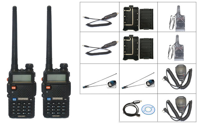 2 PCS BaoFeng UV-5R Walkie Talkie+2X mic+2XNA 771-F natenna+1Xprogramming cable+2Xwaterproof case+2X battery case+2X car charger