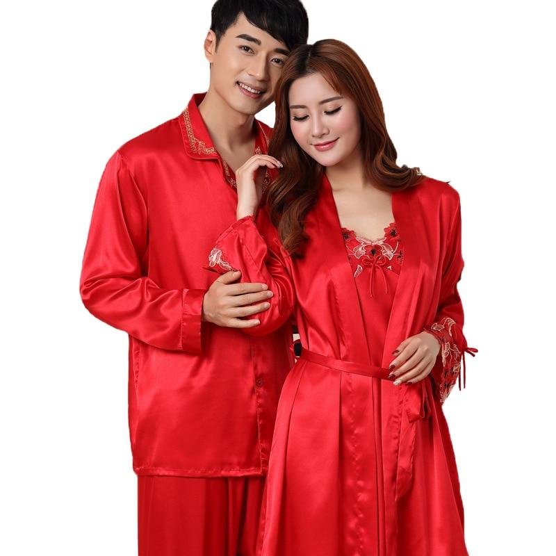 Chinese Red Wedding Sleepwear Casual Rayon Satin Lovers Pajamas Pyjamas Suit Lightweight Couple Nightwear 2 PCS Set Size M-3XL