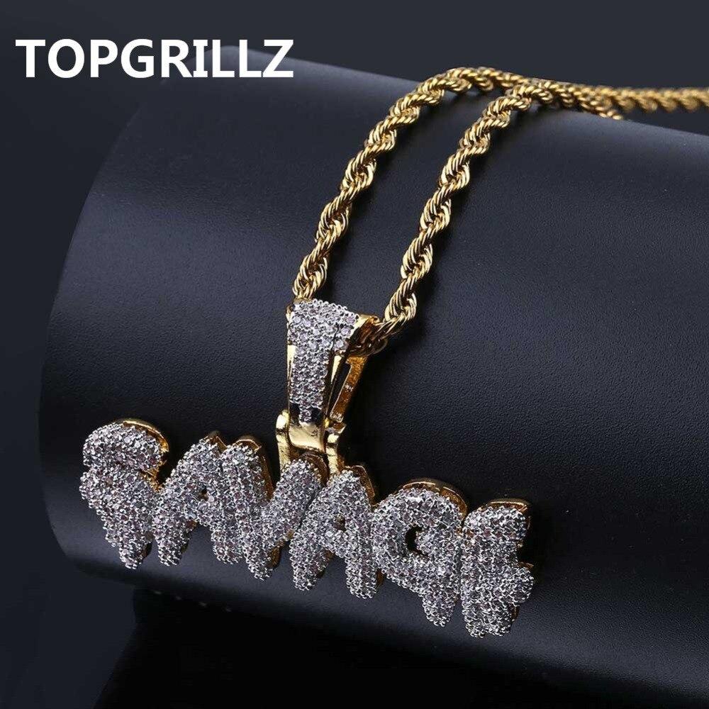 TOPGRILLZ Hip Hop collar de latón Color oro helado cadenas Micro Pave Cubic Zircon salvaje COLLAR COLGANTE de encanto para los hombres regalos