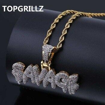 910f2e59fe52 TOPGRILLZ Hip Hop collar de latón Color oro helado cadenas Micro Pave Cubic  Zircon salvaje COLLAR COLGANTE de encanto para los hombres regalos