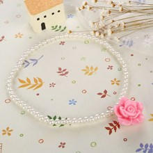2017 New Pink Imitation Pearls For Girls Children Flower Pendant Necklaces Bracelets Rings Sets For Baby Cute photography Gifts