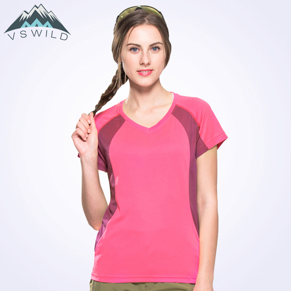 Women T-shirt Short Sleeve Outdoor Quick Drying Breathable Female Tops For Hiking Campin ...