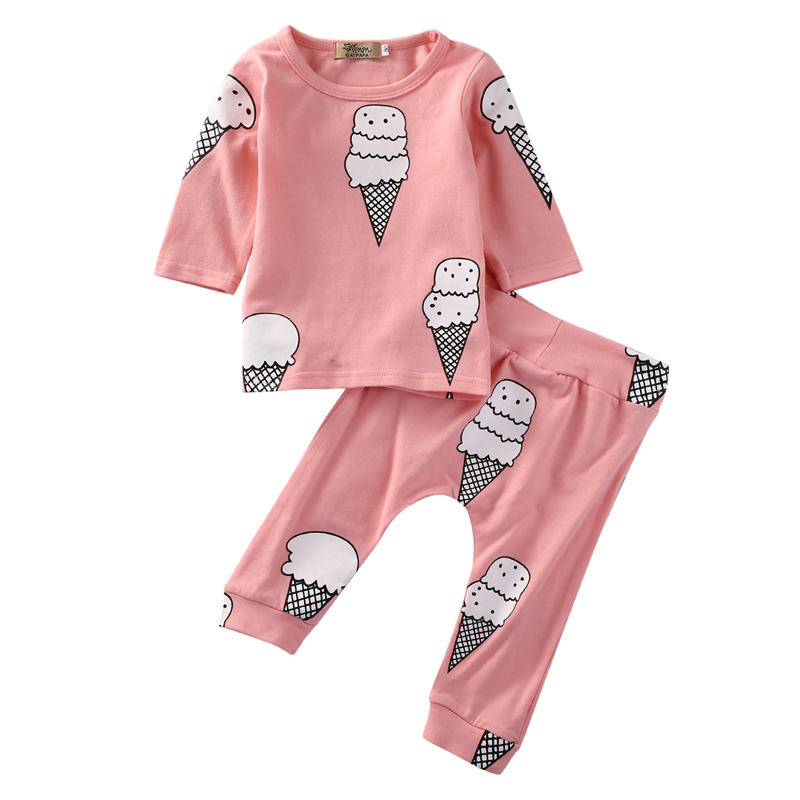 2018 Newborn Baby Girls Clothes Infant Bebes Long Sleeve Ice Cream T-shirt Top +Pant 2PCS Outfit Bebes Clothing Set Tracksuit