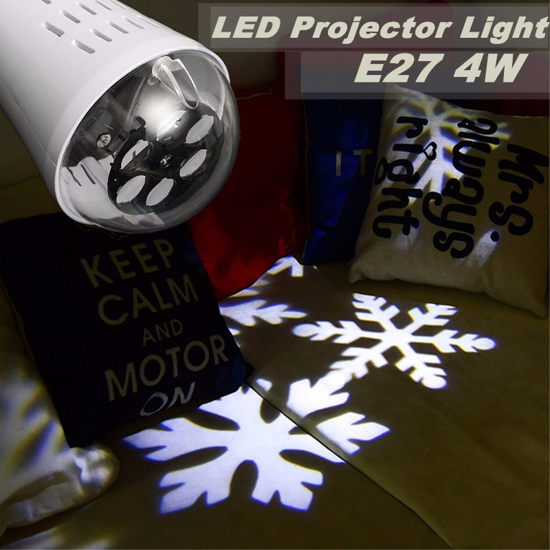 Jiguoor E27 4W LED Moving Four Kinds Snowflake Laser Projector Lamp Bulb For Christmas AC85-265V