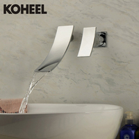 Art Tile Tap Robinet Bath Faucet Grifo Contemporary Chrome Finish Waterfall Wall Mounted Stainless Steel Bathroom Sink Faucet