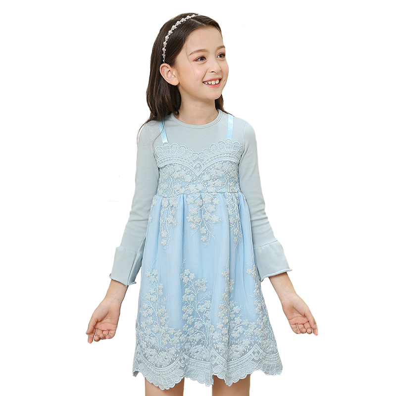 цена на Autumn Girls Princess Dresses  Spring Children Lace Floral Vestido Kids Party Clothes England Style for 3y-10y