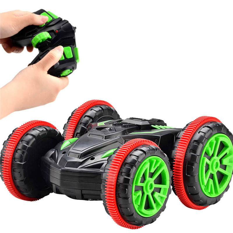 6CH Remote Control Amphibious Off Road Electric Race Double Sided Car Tank Vehicle Stunt Car Tank Vehicle 2.4GHZ 4WD Stunt Car
