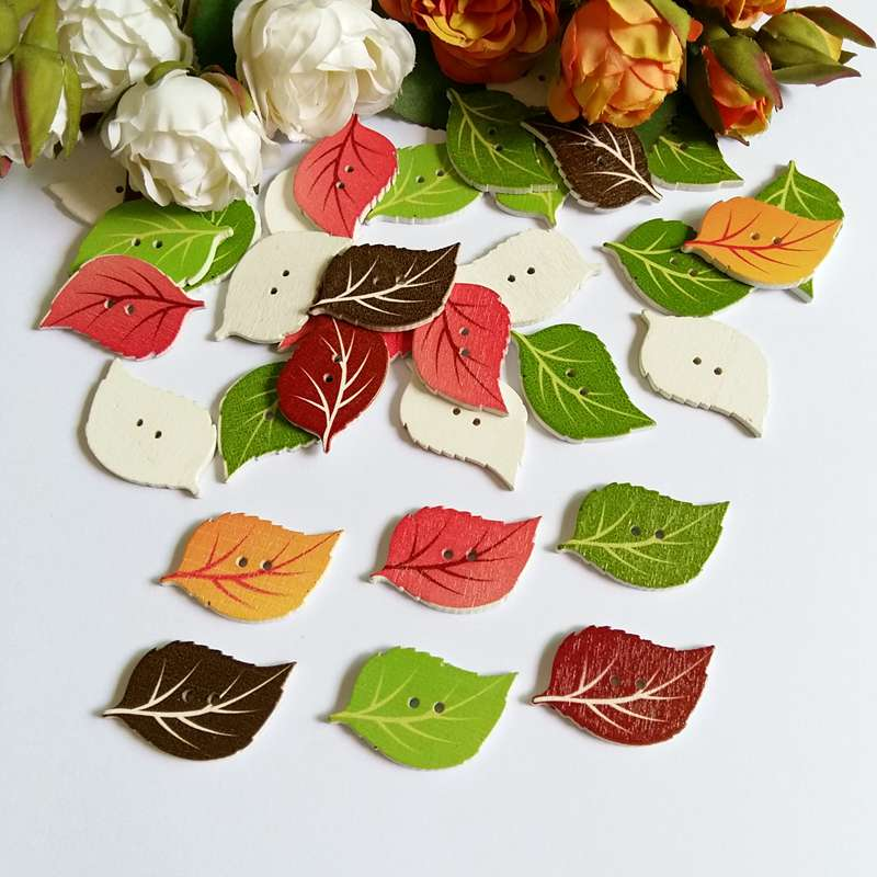 50Pcs Mixed Leaves Wood Apparel Sewing Buttons For Clothes Scrapbooking Decorative Crafts Handicraft DIY Accessories