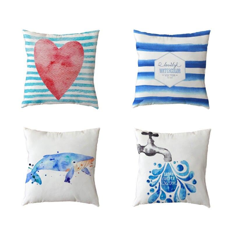 Ocean Series Polyester Peach Skin Cushion Cover Shark Blue Stripe Candy Heart Love Rectangle Geometric Home Decor Pillow Cases
