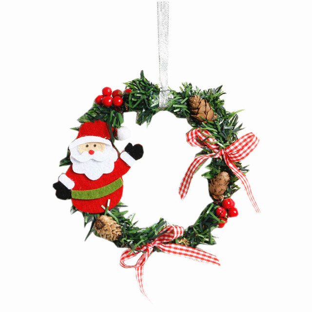2pcslot christmas ornaments wreaths xmas pinecone bow knots window door hanging garland ring - Hanging Garland Christmas Decorations