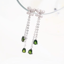 wholesale new-designed gemstone jewelry 925 sterling silver natural green diopsidependant earrings for women