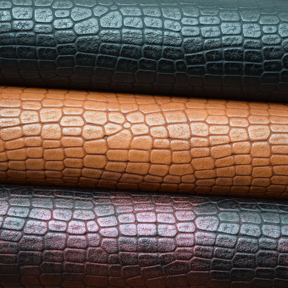 1 Yard Crocodile Skin Pattern Synthetic PU Leather For Bags, Embossed Bag Strap Leather Material