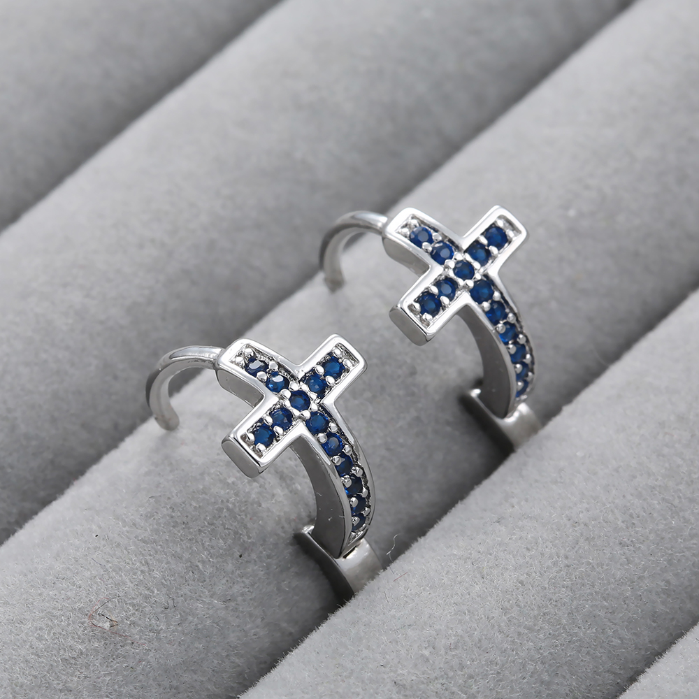 Hainon Fashion Silver Color Blue Zircon Cross Earrings Summer New product Jewelry for Women Wedding party Accessories in Drop Earrings from Jewelry Accessories