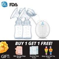 GL двойной Электрический молокоотсос для кормления ребенка сильное всасывание FDA Младенческая молокоотсос молокоотсосы