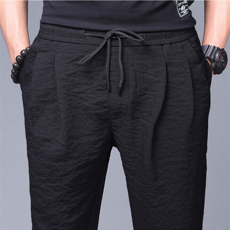 Summer Pants Men Office Plus Size Breathable Loose Casual Pencil Pants Linen Trousers
