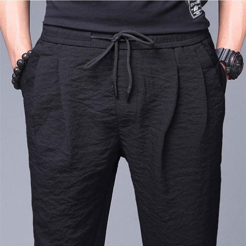 Summer Pants Men Office Plus Size Breathable Loose Casual Pencil Pants Linen Trousers