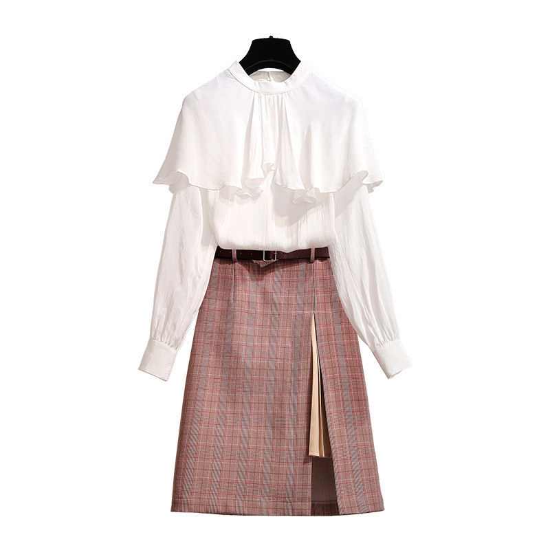 ICHOIX 2 Piece skirt set white shirt long sleeve 2 pcs clothing a line plaid skirt suits elegant 2 piece set women office Wear in Women 39 s Sets from Women 39 s Clothing