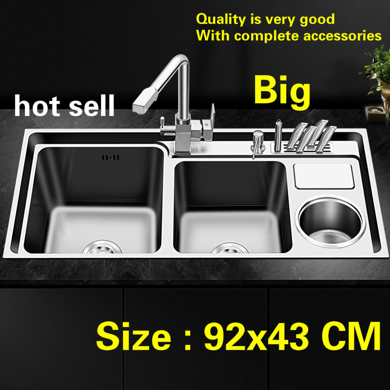 Free Shipping Individuality Big Kitchen Single Trough Sink Fashion Food-grade 304 Stainless Steel Standard Hot Sell  92x43 CM