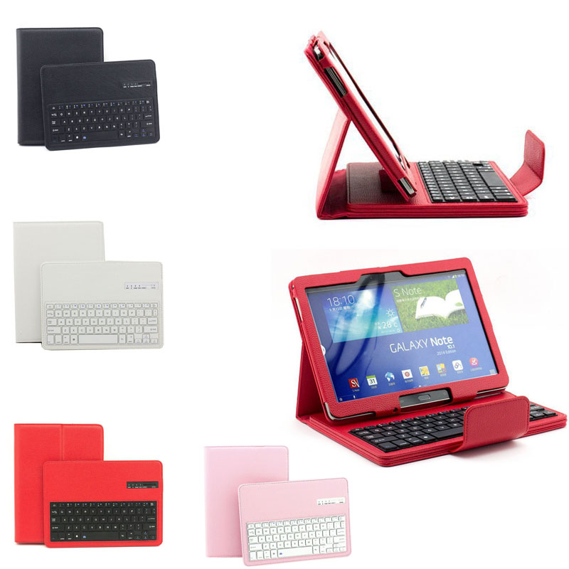 Detachable Wireless Bluetooth Keyboard + Portfolio PU Leather Stand Case For Samsung Galaxy Tab 10.1 Inch T520/ P600 Q X DJA99 new detachable official removable original metal keyboard station stand case cover for samsung ativ smart pc 700t 700t1c xe700t