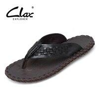 CLAX Men's leather flip flops 2019 Summer Shoe Male Slippers Genuine Leather Man Beach Slipper