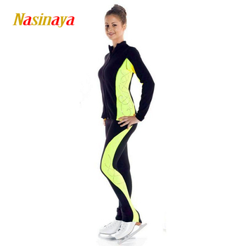 Customized Figure Skating Suits Jacket and Pants Long Trousers for Girl Women Training Patinaje Ice Skating Warm Gymnastics 13