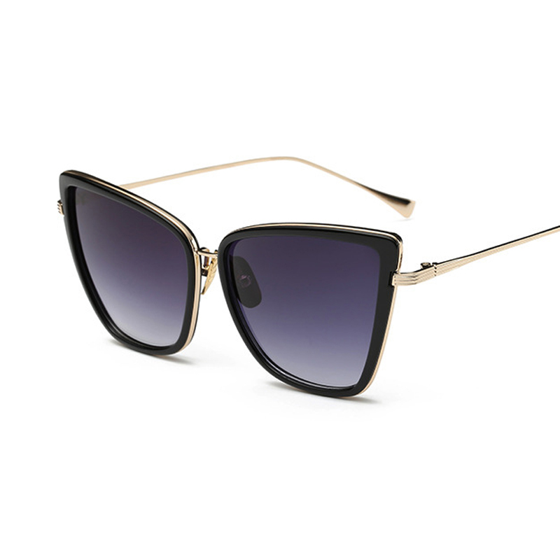 6c1dfcca67f17d Cat font b Eye b font lunettes de Soleil Femmes Noir Chat Miroir Lunettes  En Métal