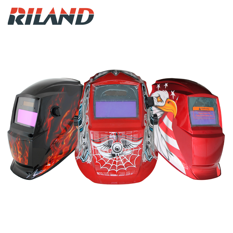 RILAND Face Mask Solar Auto Darkening MIG MMA Electric ARC Skeleton Welding Mask/Helmet/welder Cap Helmet For Welding Machine auto darkening solar welder helmet welders electric welding mask with grind mode face protect cap for weldering