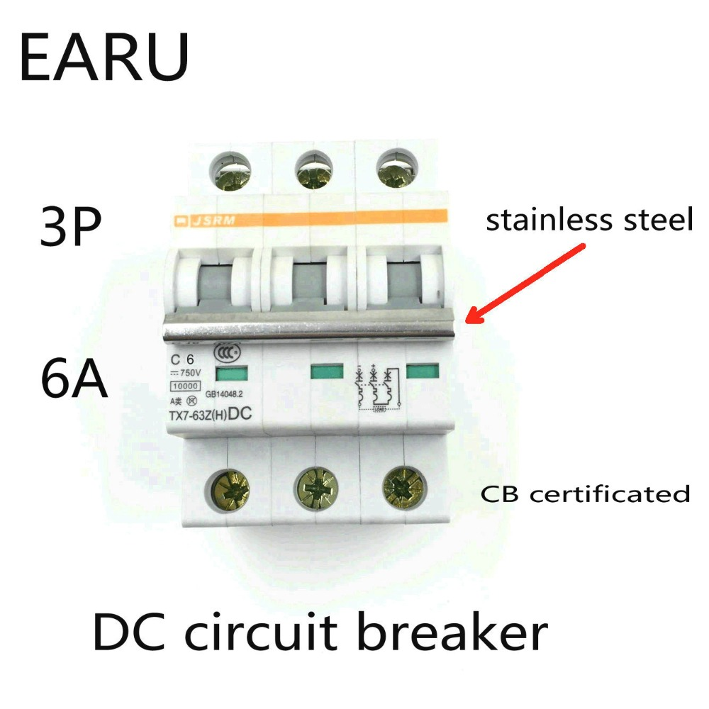3P 6A DC 750V DC Circuit Breaker MCB for PV Solar Energy Photovoltaic System Battery C curve CB Certificated Din Rail Mounted 400a 3p 220v ns moulded case circuit breaker