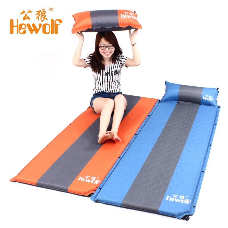 Hewolf tapis de camping extérieur Air matelas gonflable automatique tapis de plage siège mousse imperméable à l'eau peut être épissé camping mattres chaud