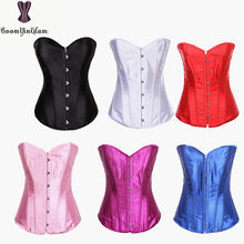 6a679cefbb6 818  Free shipping 6 colors choice metal busk clips corselet sexy bustier  satin classic victorian corset with G string